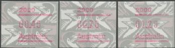 Australian Framas: Emu Button Set 45c, 70c, $1.20: Post Code 2000 Sydney